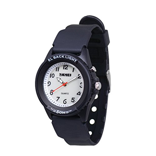Wolfteeth Analog Quartz Boys Reloj De Pulsera con Segunda Mano Luminosa  Contraluz Dial Blanco Resistente Al Agua Moda Reloj 3052 c5e3723f3348