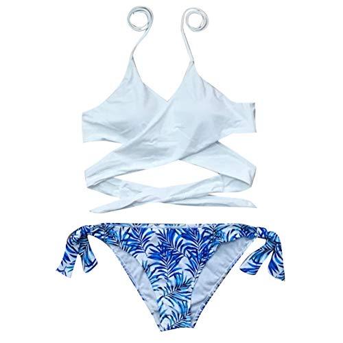 Damen V-Ausschnitt Blattmuster Bikini Set Zweiteiliger Bademode High Waist Badeshorts Swimwear Sexy Hawaii Badeanzug Retro Tanga Badehose Rückenfrei Strandkleidung Bikinihose Swimsuit (Weiß2, L)