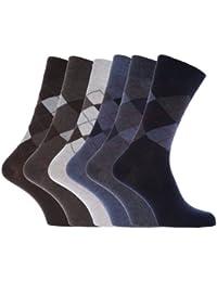 Chaussettes à motifs losange en mélange de coton pour homme (lot de 6 paires)