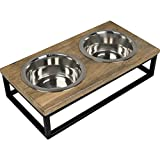 CJ's Double Raised Pet Feeding Station with Stainless Steel Bowls and Industrial Metal Wood Stand