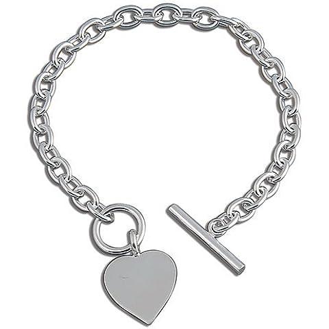 Bracciale in argento Sterling con ciondolo a forma di cuore, robusto-Bracciale in argento, con pendente a forma di cuore, stile Tiffany, possono essere incisi
