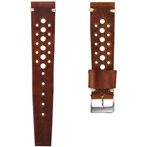 Cinturino orologio Geckota® Vera pelle Perforato Marrone rossastro, Spazzolato, (Rolex In Acciaio Inossidabile Oyster)