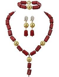 9ef95952790a Amazon.es  Collar Coral Rojo - Juegos de joyas   Mujer  Joyería