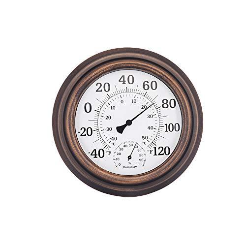 Indoor Dekorative Gehäuse (ZUEN Indoor Outdoor Thermometer, Outdoor Home Celsius Temperatur Monitor Große Schrift Glaslinse Hohe Präzision Material für Wand Patio Oder Dekorative (Bronze))