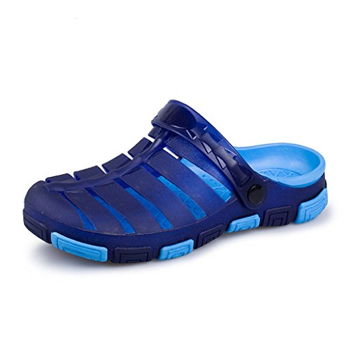 Hishoes Herren Sommer Hohl Strand Aqua Flach Sohle Outdoor Gartenclogs Sandalen Blau