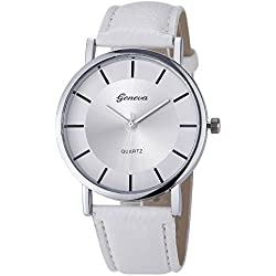 FEITONG Fashion Retro Dial Leather Analog Quartz Wrist Watch White