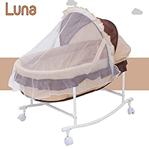 Baybee Luna Cradle for Babies-Newborn Baby Cotton Baby Cradle/Baby Sleep Swing Cradle/Baby Jhula Jhoola/Baby Bed/Baby Bedding Set with Net and Spring Set 0-6 Months for Baby (Brown)