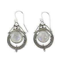 Minshao Women Vintage Jewelry Moonstone Earrings Gemstone Dangle Hook Stud Earring Gift (White)