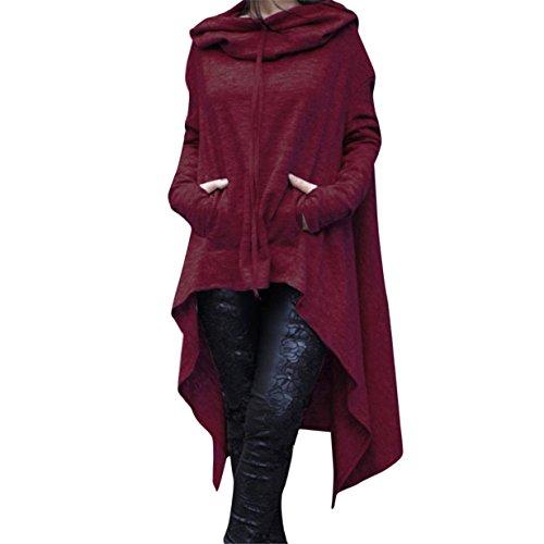 Yuan Frauen lose Kapuzenpulli lange Kapuzenoberteile Damen Sweatshirt Strickjacke asymmetrische Bluse (XXXXXL, Wein) (Schickes Kleid Für Große Hunde)