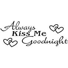 Valentine's Day Always-Kiss-Me Wall Stickers 66x25cm Goodnight Wall Art Decals for Bedroom Living Room (Black)