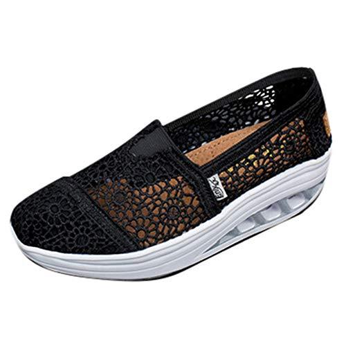 Overdose-Chaussures Platform Trainers Femme Tennis à Enfiler Pas Cher Baskets à Talons Plates Soldes Été Automne Comfort Sneakers (37 EU, Style B:Noir)