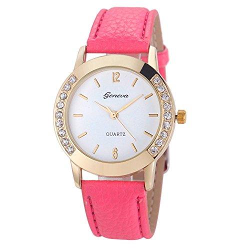 Valentinstag Uhren DELLIN Genfer Mode Frauen Diamant Analog Leder Quarz Armbanduhr Uhren (Pink)
