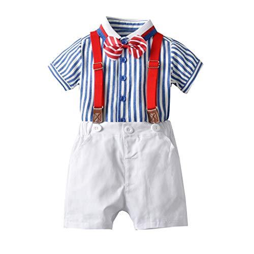 JERFER Kinderkleidung Set Kleinkind Gentleman Bow Tie Gestreiftes T-Shirt Tops + Shorts Overalls Outfits - Smoking Weste Schwarz Bow Tie