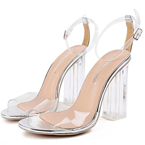 Oasap Women's Peep Toe High Heels Ankle Buckle Transparent Sandals silver