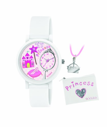Tikkers Children's Quartz Watch with Pink Dial Analogue Display and White Silicone Strap ATK1013