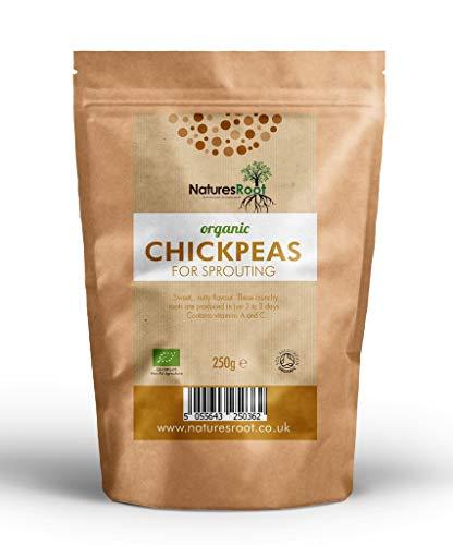 Natures Root Bio Keimsprossen Kichererbsen 1kg - Auswuchs Garbanzo | Köstliches Nussiges Aroma | Kichererbsensprossen | Nicht GVO | Mikrogrün