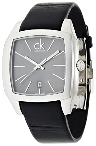Calvin Klein Men's Quartz Watch with Grey Dial Analogue Display and Black Leather Bracelet K2K21107
