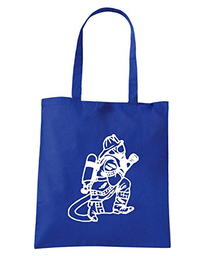 T-Shirtshock - Borsa Shopping FUN0393 829 firemen vinyl decal 72153 Blu Royal
