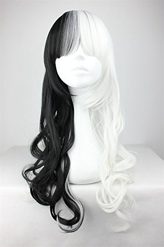 LanTing Cosplay Perücke Cosplay Full Wig Heat Resistant Fiber White Mix Black Cosplay Party Fashion Anime Human Costume Full wigs Synthetic Haar Heat Resistant Fiber