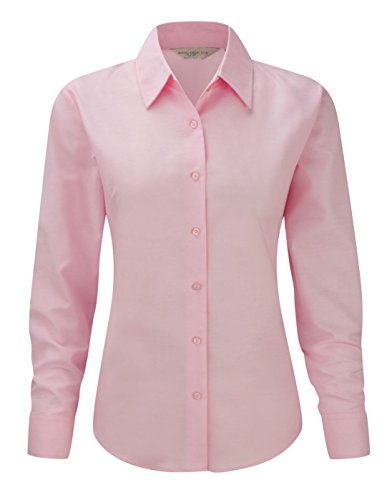 Russell Collection manches longues pour femme Oxford Chemis'à manches longues pour homme Entretien facile Rose - Classic Pink