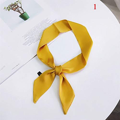 AFHT-Mode Frauen Elegante 90 * 5 cm Kleine Seidensatin Schal Halstuch Kopf-Hals Krawatte Band Haar Seil Tasche Krawatte Armband Wrap