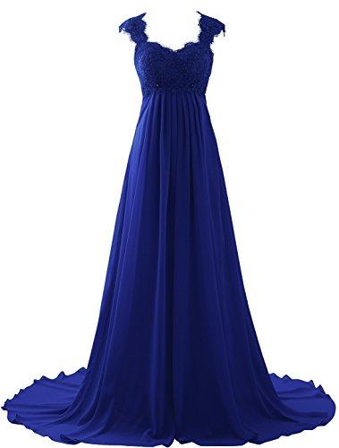 Erosebridal Spitze Chiffon Strand Hochzeitskleid Formal Abendkleider Blau DE54W