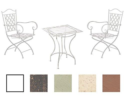 CLP Garten-Sitzgruppe PAYO aus Eisen I Antike Gartenmöbel aus lackiertem Eisen I 1 Tisch und 2 Stühle I erhältlich Antik Weiß