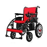 T.Kerry Elektrischer Rollstuhl, Faltbarer Leichter Älterer Rollstuhl, Intelligenter Automatischer Lithium-Akku (Rot Oder Schwarz),Red