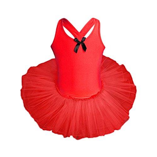 llos Mädchen Ballettkleid Kinder Ballett GazeTrikot Ballettanzug mit Tütü Röckchen Kleid (Rot, 134) ()
