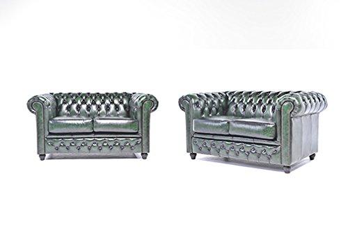 Original Chesterfield Sofas – 2 / 2 Sitzer – Vollständig Handgewaschenes Leder – Antik Grün