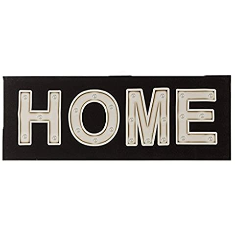 LED Leuchtschild Leinenbild Home auf