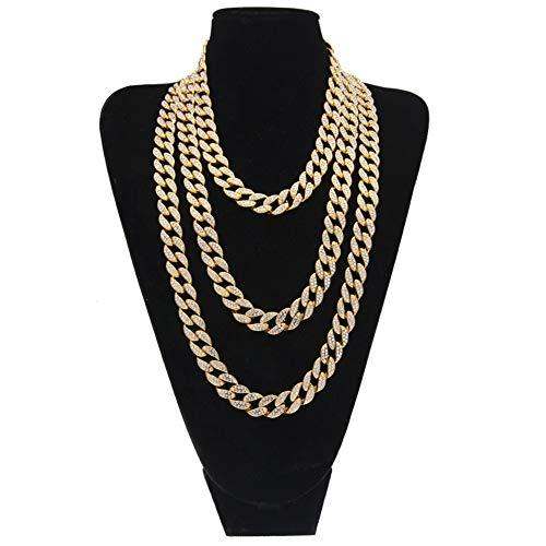 15 MM Edelstahl Herren Damen Halskette Gold Cuban Link Kette, Hip Hop Stil Schmuck Kristall Halskette Länge optional,Gold,46cm