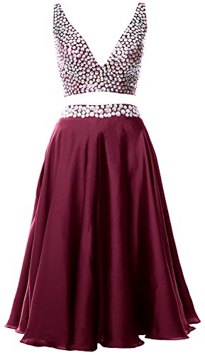 MACloth Women 2 Piece Short Prom Dress 2017 Straps V Neck Cocktail Formal Gown Weinrot