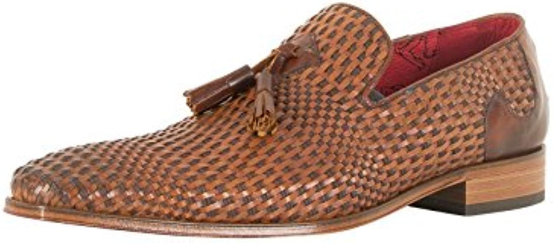 Jeffery West Hombre Zapatos de Cuero Marrón Claro Scarface, Marrón -