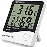 Termómetro y hidrómetro de interior Keynice para el hogar o la oficina con LCD digital reloj de alarma HTC-1