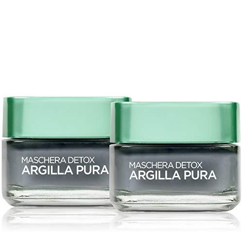 L'Oréal Paris Trattamenti Maschera per il Viso Argilla Pura Detox con Carbone, Detossina e Illumina la Pelle, 50 ml, Confezione da 2 Pezzi