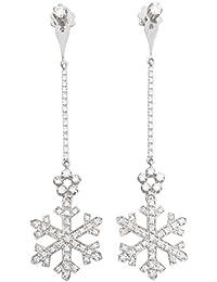 Superstar Boucles d'Oreilles Femme en Or 18 carats Blanc avec Diamant H/VS (total diamants 1.25 ct), 9 Grammes