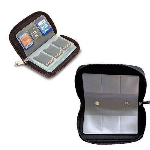 Winomo portable 22 slot sd sdhc mmc cf micro sd memory card titolare pouch caso con zip deposito borsa protector (nero)