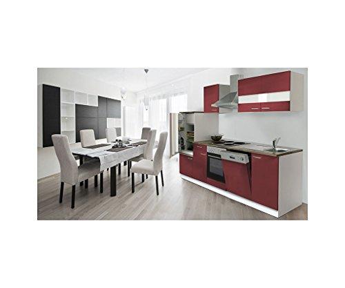 respekta Küchenleerzeile Einbauküche Küche Weiss Rot 280 cm LEERBLOCK LBKB280WR