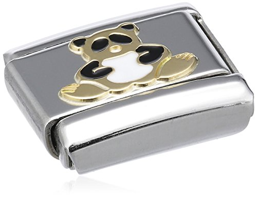 Nomination Composable Classic Land Animals Panda Stainless Steel, Enamel and 18K Gold Test