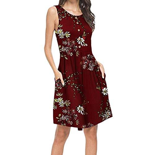 Linkay Damen Kleid, Sommer Neuer Trend Lässiger O-Ausschnitt Böhmische Tasche Rock Ärmelloser Knopf Minikleid Kleider Mode 2019 (Rot, Medium) -