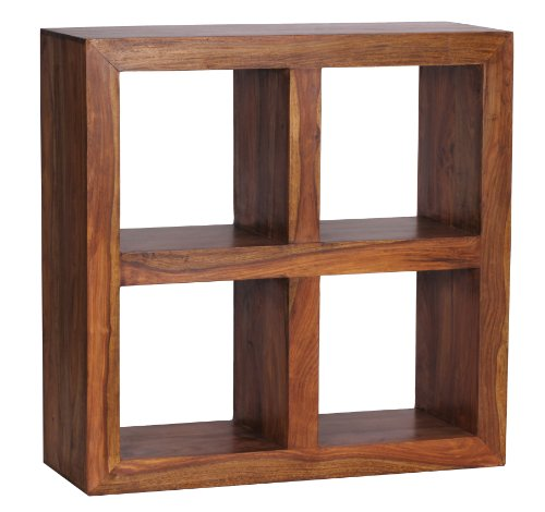 Landhaus-stil-wohnzimmer-möbel (WOHNLING Standregal Massivholz Sheesham 82 cm hoch 4 Böden Design Holz-Regal Natur-Produkt Beistelltisch Landhaus-Stil dunkel-braun Wohnzimmer-Möbel Unikat Echtholz Bücherregal viereckig Stehregal)