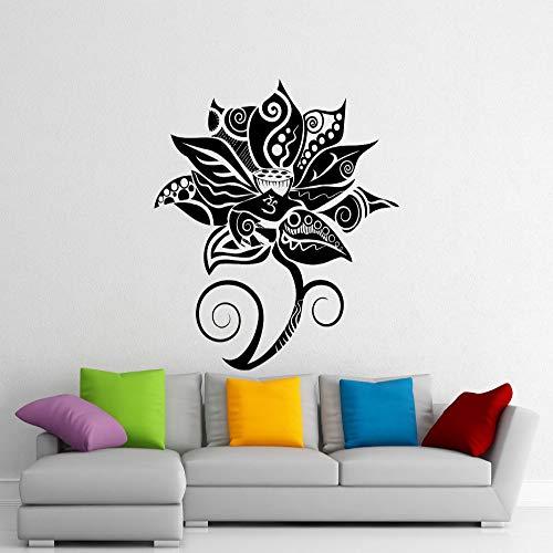 yaoxingfu Adesivo murale Fiore di Loto Yoga Adesivi murali in Vinile Decorazioni per la casa Soggiorno Camera da Letto Interior Art Decor Murale Vinilos Paredes Nero 42X46cm