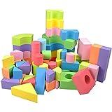 EQLEF® 50 PCS Kind-ungiftige weiche leichte EVA Schaum-Bausteine -Assorted Farben verschiedene Formen
