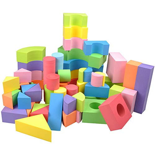 Enfants Non-toxique Soft Light EVA Mousse Blocs de Construction-Couleurs assorties Diverses formes / 50 PCS
