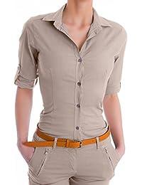 Damen elegante Figurbetonte langarm Bluse Hemd ( 510 )