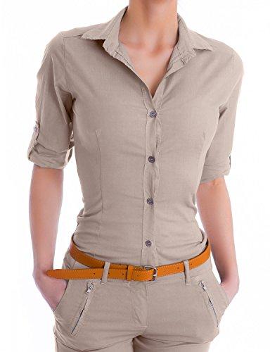 Damen elegante Figurbetonte langarm Bluse Hemd ( 510 ) (42 / XL, Beige) (Nachthemd Chiffon Vintage)