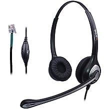 Auriculares Teléfono Fijo Cableados Dual, Micrófono con Cancelación de Ruido, WANTEK Cascos con Control de Volumen para AVAYA Aastra Alcatel Lucent Gigaset Mitel Plantronics (F602S1)