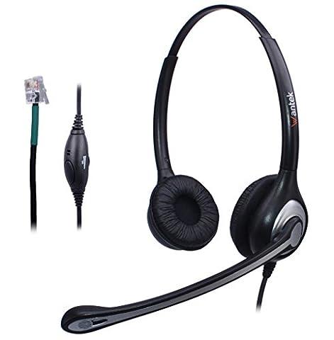 Wantek Filaire Téléphone Casque Dual avec Noise Cancelling Micro pour AVAYA Aastra Allworx Adtran Alcatel Lucent AltiGen Comdial Digium Gigaset InterTel Mitel Plantronics MiVoice Téléphones(F602S1)