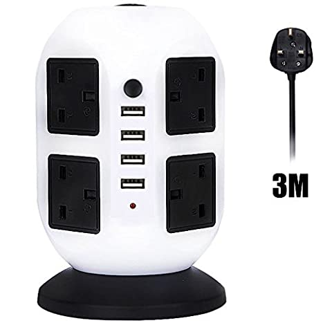 HowiseAcc 3M/9.8ft Extension Lead,4 USB Ports 8 Way Outlets Tower Power Strip Vertical Socket with Surge Protector Overload